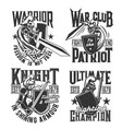 t-shirt prints with knight and warriors vector image vector image