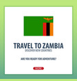 travel to zambia discover and explore new vector image vector image