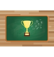trophy gold with icon symbol on front of green vector image vector image