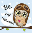 valentine card with cute cartoon owl vector image vector image