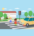 violation road rules kids abruptly cross path vector image