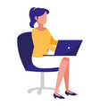 young woman sitting in office chair with laptop vector image vector image