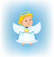 Cute angel with Christmas star vector image