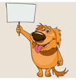 cartoon cheerful dog standing with a blank banner vector image