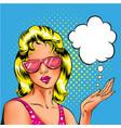 pop art woman in pink sunglasses vector image
