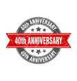 40th anniversary round stamp with red ribbon