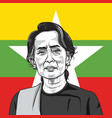 aung san suu kyi on myanmar flag background vector image