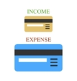 Bank cards as sings of income and expense vector image
