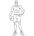 basketball player line art vector image vector image