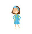 cartoon character of girl in blue coat with vector image vector image