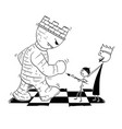 cartoon chess king endangered giant tower vector image