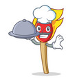 chef with food match stick mascot cartoon vector image vector image