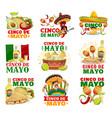 cinco de mayo food sombrero and maracas icons vector image vector image