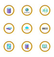 copying data icons set cartoon style vector image vector image