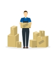 Delivery Man and Cardboard Boxes vector image