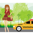 elegant woman waiting for a taxi vector image vector image