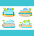 empty tropical sandy beaches with tall palms set vector image vector image
