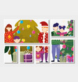 family with gifts decoration tree merry christmas vector image vector image