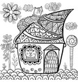 fantasy cat house coloring page vector image vector image