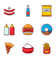 fast food icons set flat style vector image vector image