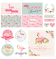 Flamingo Party Set - for Wedding Bridal Shower vector image vector image