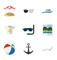 flat icon summer set of spectacles parasol scuba vector image vector image