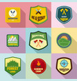 forestry icons set flat style vector image