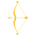 gold bow and arrow vector image vector image