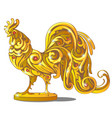 golden figurine of rooster inlaid with red vector image