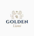 golden lions abstract sign symbol or logo vector image vector image