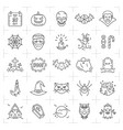 halloween icon set thin line art halloween icons vector image vector image