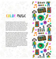 hand drawn music border music sketch colorful vector image vector image