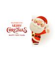 happy cute santa claus stands behind signboard vector image vector image