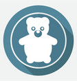 icon teddy bear toy on white circle with a long vector image vector image
