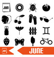 june month theme set of simple icons eps10 vector image vector image