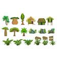 jungle landscape elements set vector image