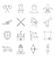 Knight medieval icons set outline style vector image vector image