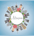 macau skyline with gray buildings blue sky and vector image vector image
