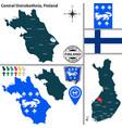 map of central ostrobothnia finland vector image vector image