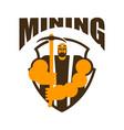 miner logo mining bitcoin crypto currencies vector image vector image