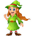 old witch in green christmas elf costume vector image vector image
