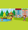 outdoor scene with many kids playing in park vector image