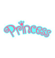 pink girly princess logo text graphic with crown vector image vector image