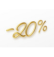 realistic golden text 20 percent discount number vector image