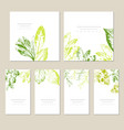 set of card with leaves wedding ornament concept vector image vector image