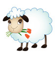 sheep eat flower icon cartoon style vector image