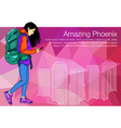shopping girl walking in the city holding vector image vector image