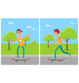 skateboarding set cartoon characters skateboarders vector image vector image