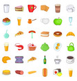 small cafe icons set cartoon style vector image vector image