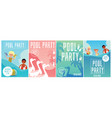 summer pool party poster set with cartoon children vector image